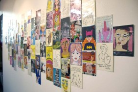 Huddle - A Postcard Show at Shoebox Projects. Photo Credit. Kristine Schomaker